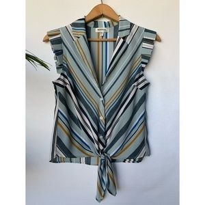 Small, Monteau, striped tie front tank